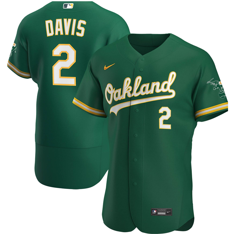 2020 MLB Men Oakland Athletics 2 Khris Davis Nike Kelly Green Alternate 2020 Authentic Player Jersey 1
