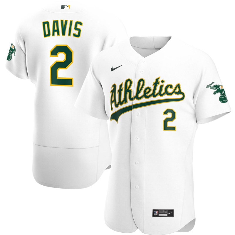 2020 MLB Men Oakland Athletics 2 Khris Davis Nike White Home 2020 Authentic Player Jersey 1