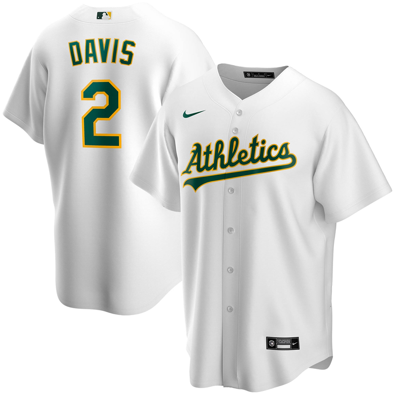 2020 MLB Men Oakland Athletics 2 Khris Davis Nike White Home 2020 Replica Player Jersey 1