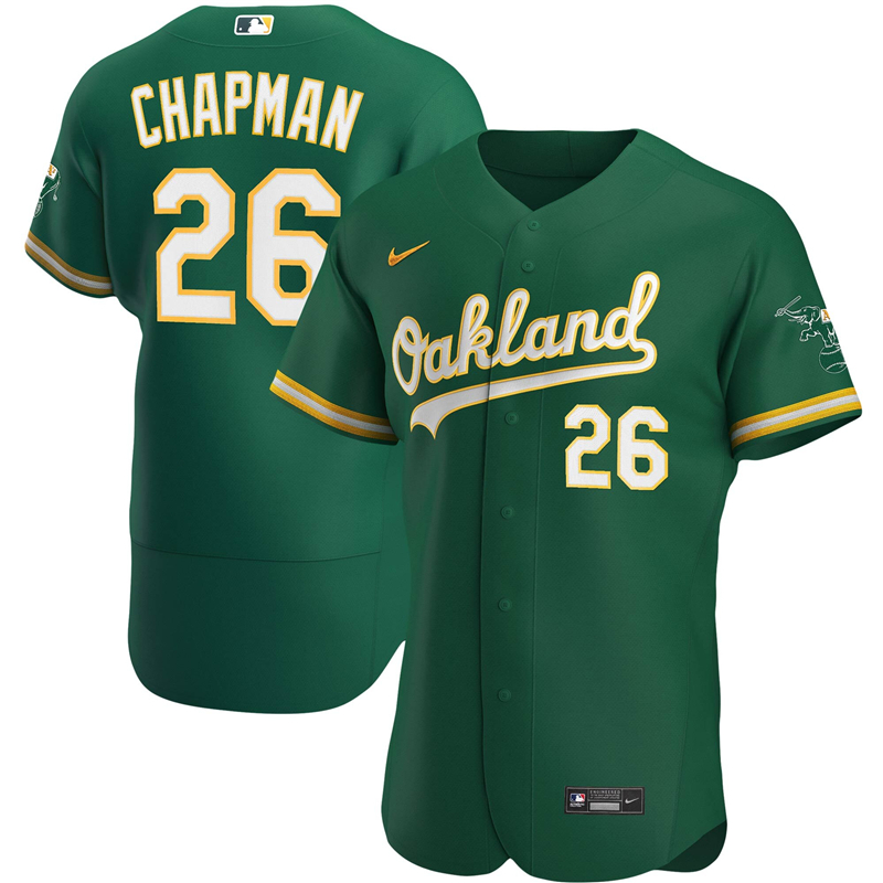 2020 MLB Men Oakland Athletics 26 Matt Chapman Nike Kelly Green Alternate 2020 Authentic Player Jersey 1