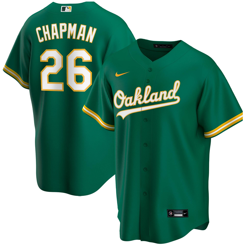 2020 MLB Men Oakland Athletics 26 Matt Chapman Nike Kelly Green Alternate 2020 Replica Player Jersey 1