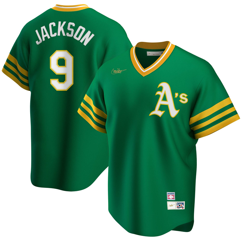 2020 MLB Men Oakland Athletics 9 Reggie Jackson Nike Kelly Green Road Cooperstown Collection Player Jersey 1