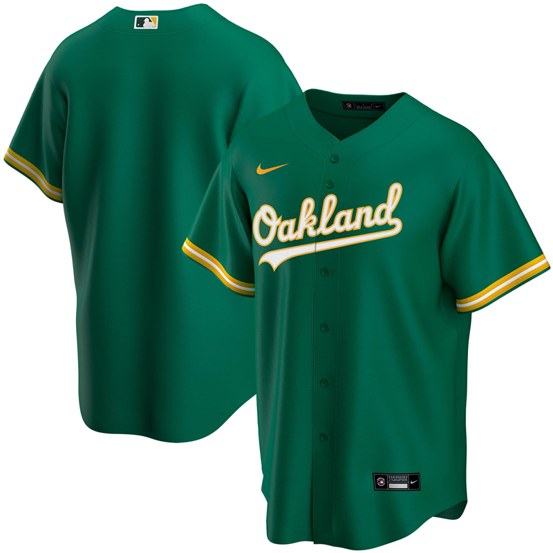 2020 MLB Men Oakland Athletics Nike Kelly Green Alternate 2020 Replica Team Jersey 1