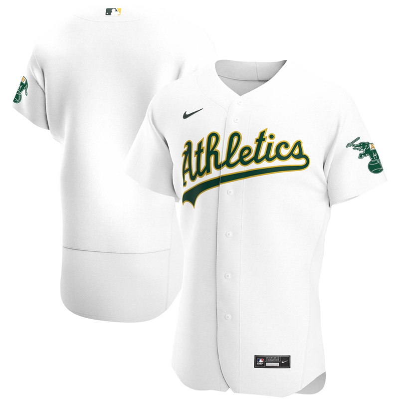 2020 MLB Men Oakland Athletics Nike White Home 2020 Authentic Official Team Jersey 1