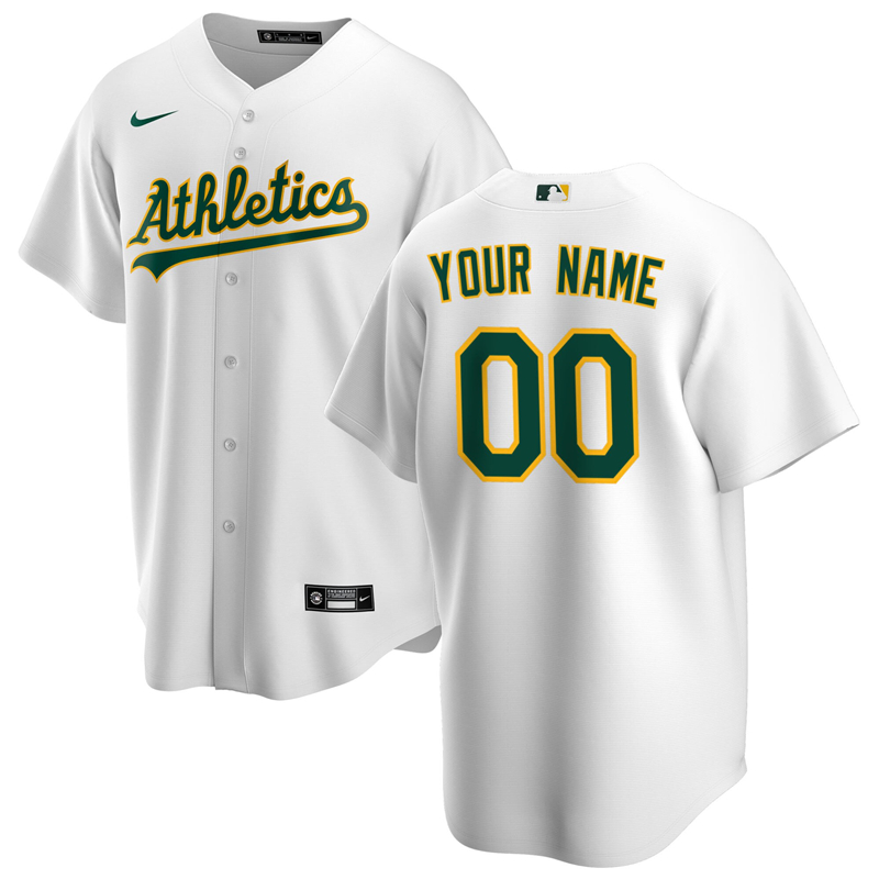 2020 MLB Men Oakland Athletics Nike White Home 2020 Replica Custom Jersey 1