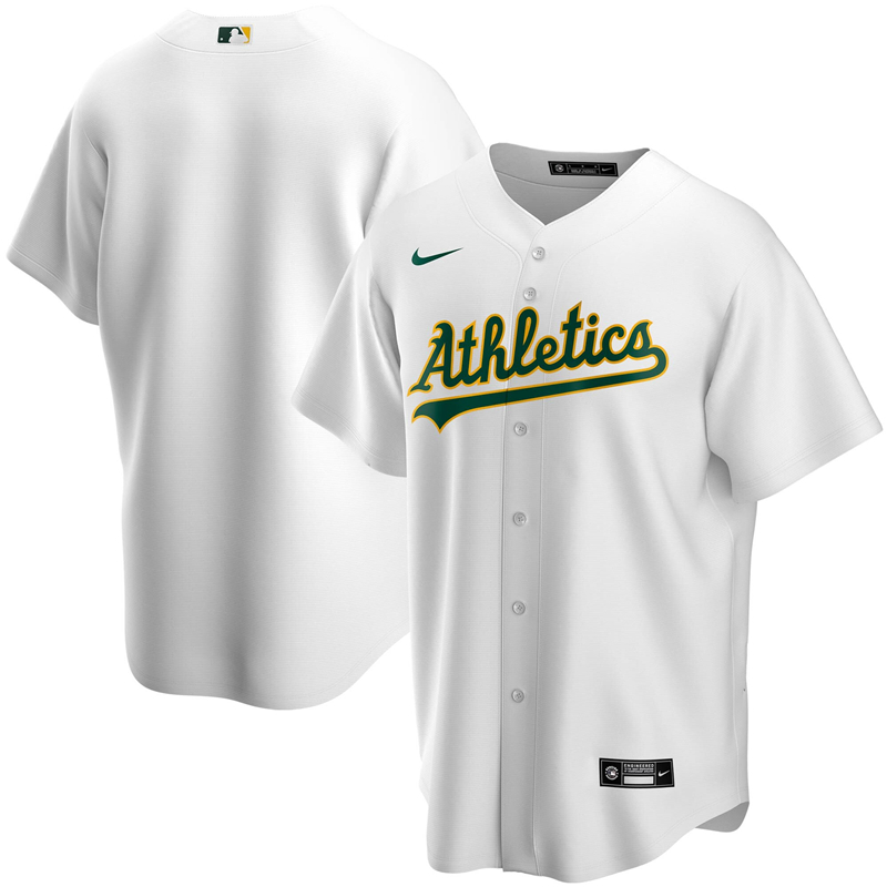 2020 MLB Men Oakland Athletics Nike White Home 2020 Replica Team Jersey 1