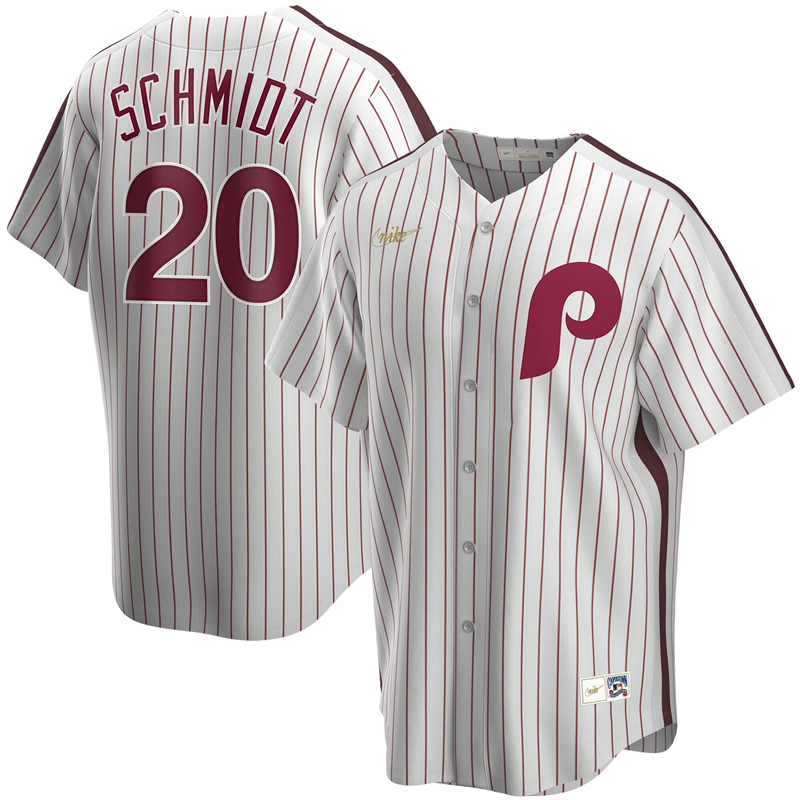 2020 MLB Men Philadelphia Phillies 20 Mike Schmidt Nike White Home Cooperstown Collection Player Jersey 1