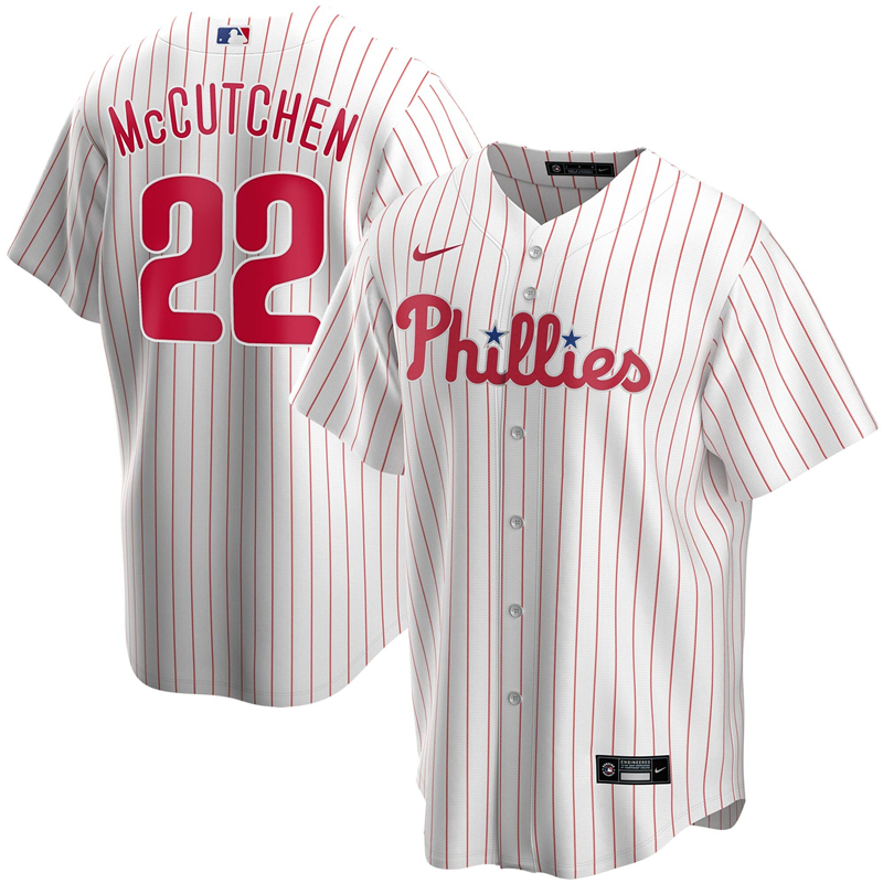 2020 MLB Men Philadelphia Phillies 22 Andrew McCutchen Nike White Home 2020 Replica Player Jersey 1