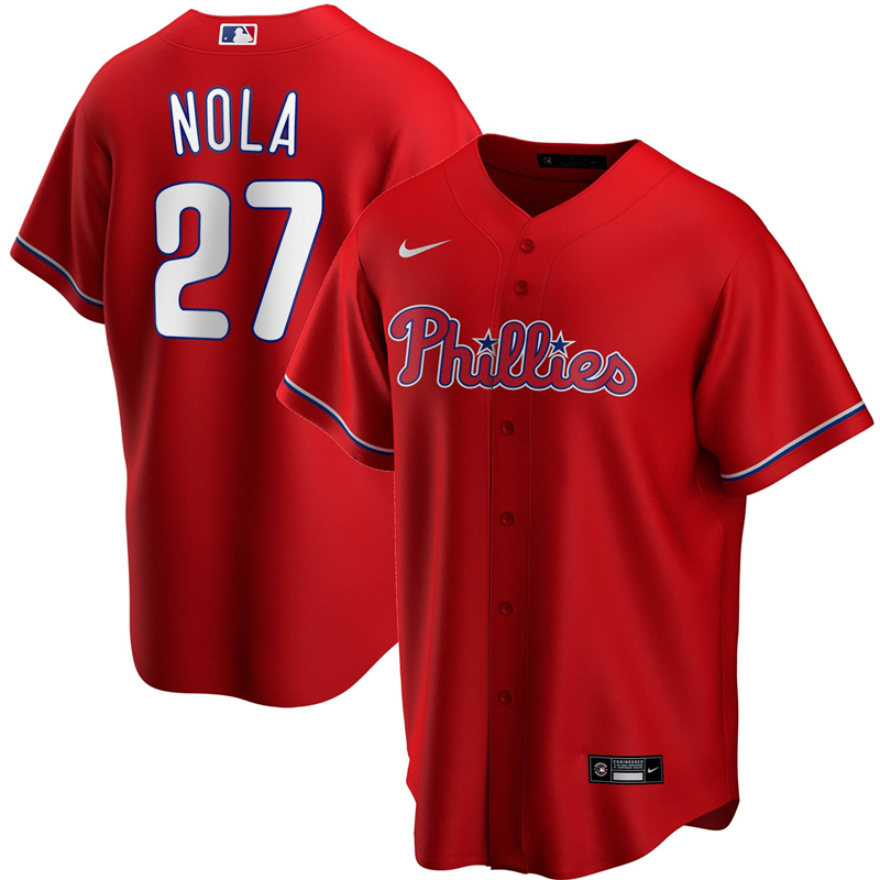 2020 MLB Men Philadelphia Phillies 27 Aaron Nola Nike Red Alternate 2020 Replica Player Jersey 1