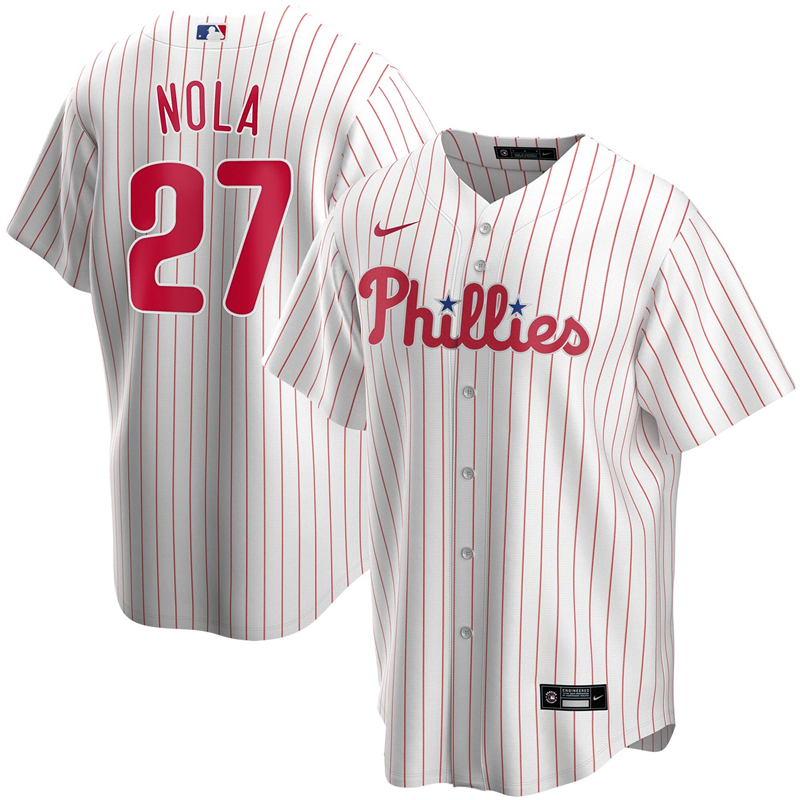 2020 MLB Men Philadelphia Phillies 27 Aaron Nola Nike White Home 2020 Replica Player Jersey 1