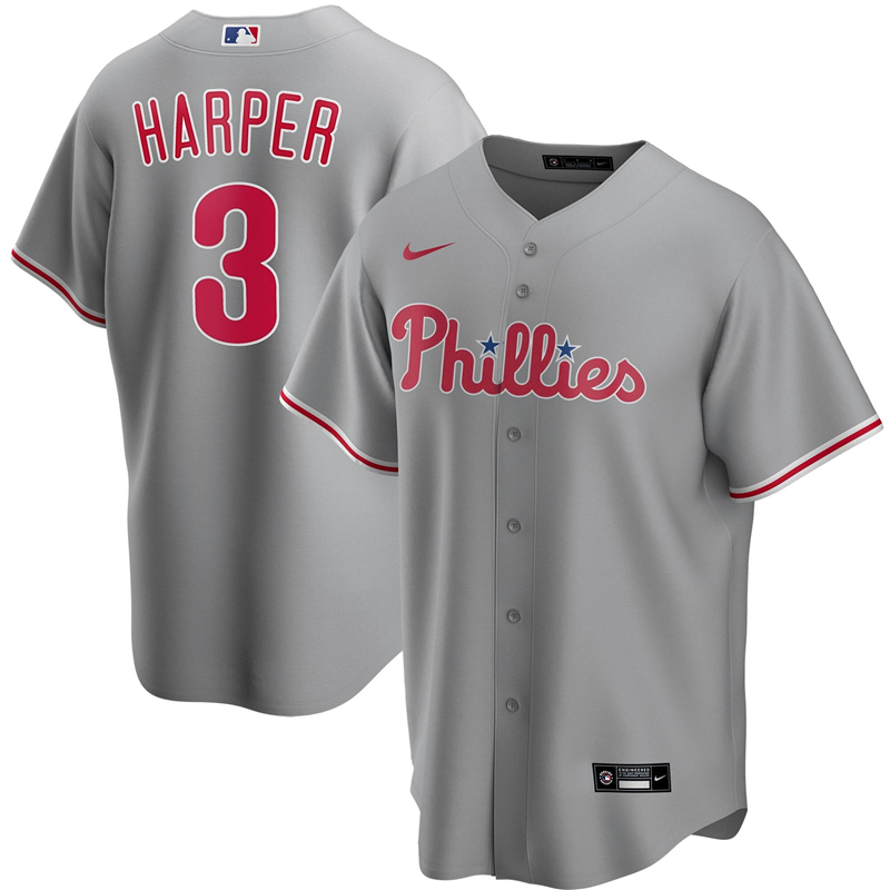 2020 MLB Men Philadelphia Phillies 3 Bryce Harper Nike Gray Road 2020 Replica Player Jersey 1