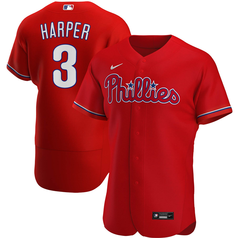 2020 MLB Men Philadelphia Phillies 3 Bryce Harper Nike Red Alternate 2020 Authentic Player Jersey 1