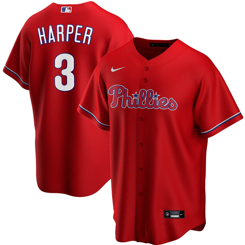 2020 MLB Men Philadelphia Phillies 3 Bryce Harper Nike Red Alternate 2020 Replica Player Jersey 1