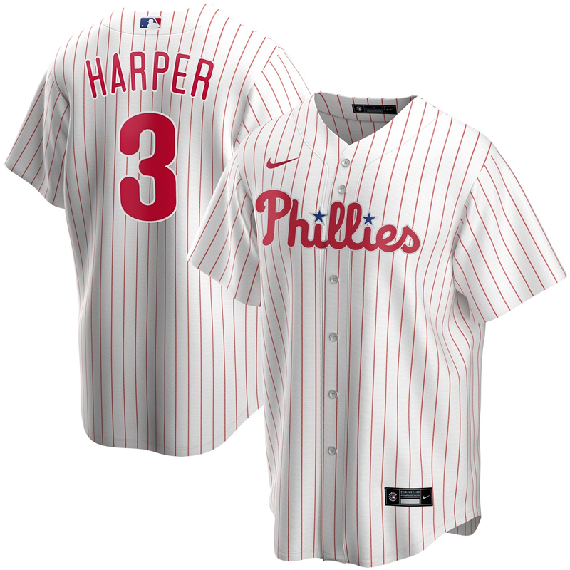 2020 MLB Men Philadelphia Phillies 3 Bryce Harper Nike White Home 2020 Replica Player Jersey 1