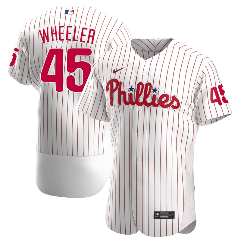 2020 MLB Men Philadelphia Phillies 45 Zack Wheeler Nike White Home 2020 Authentic Player Jersey 1