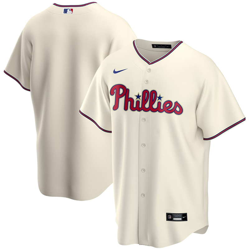 2020 MLB Men Philadelphia Phillies Nike Cream Alternate 2020 Replica Jersey 1