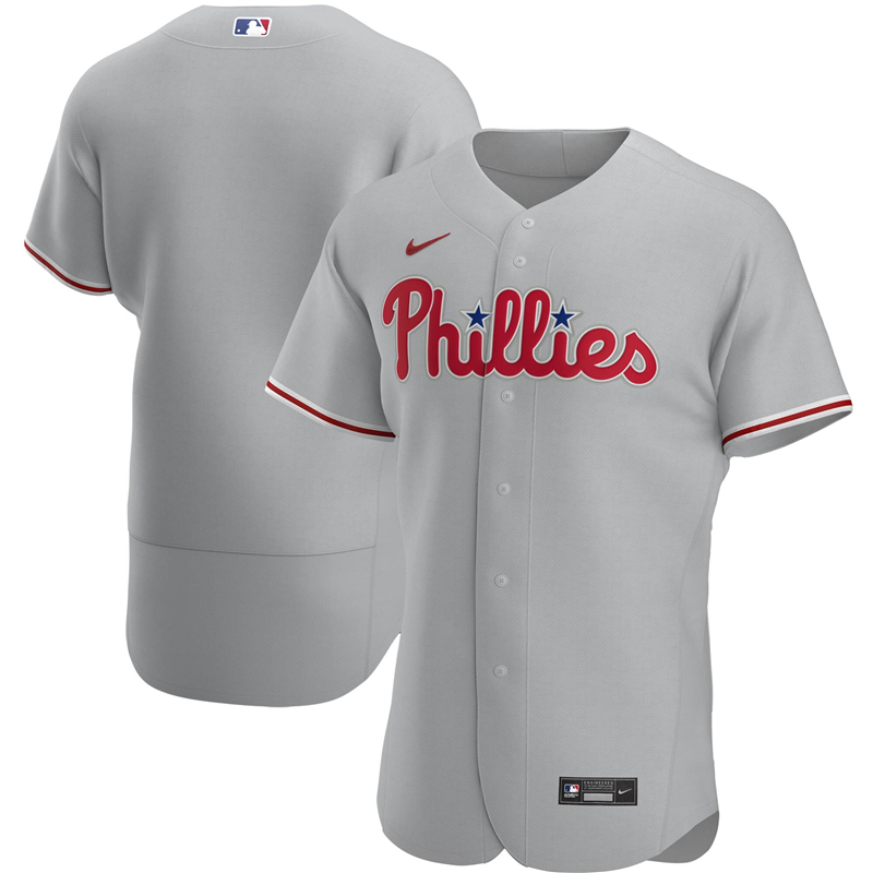 2020 MLB Men Philadelphia Phillies Nike Gray Road 2020 Authentic Official Team Jersey 1