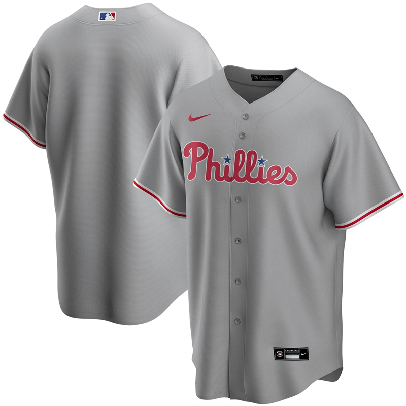 2020 MLB Men Philadelphia Phillies Nike Gray Road 2020 Replica Team Jersey 1