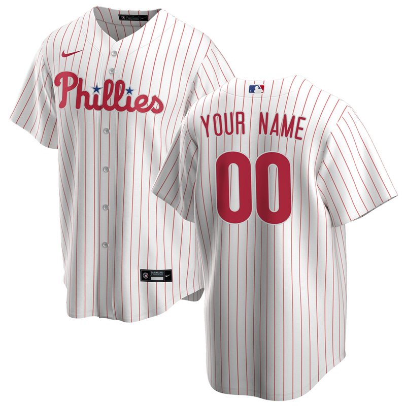 2020 MLB Men Philadelphia Phillies Nike White Red Home 2020 Replica Custom Jersey 1