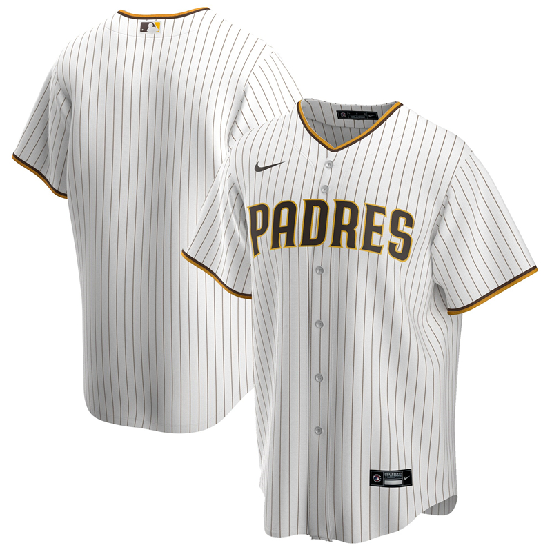 2020 MLB Men San Diego Padres Nike White Brown Home 2020 Replica Team Jersey 1
