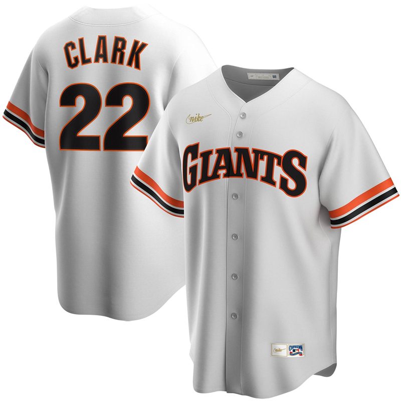 2020 MLB Men San Francisco Giants 22 Will Clark Nike White Home Cooperstown Collection Player Jersey 1