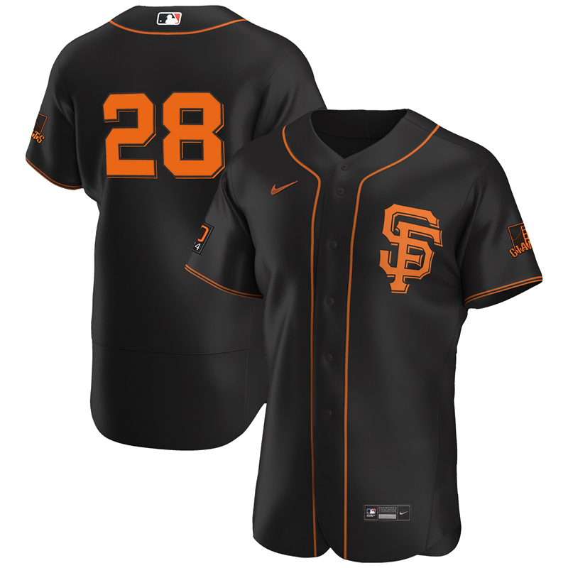 2020 MLB Men San Francisco Giants 28 Buster Posey Nike Black Alternate 2020 Authentic Player Jersey 1