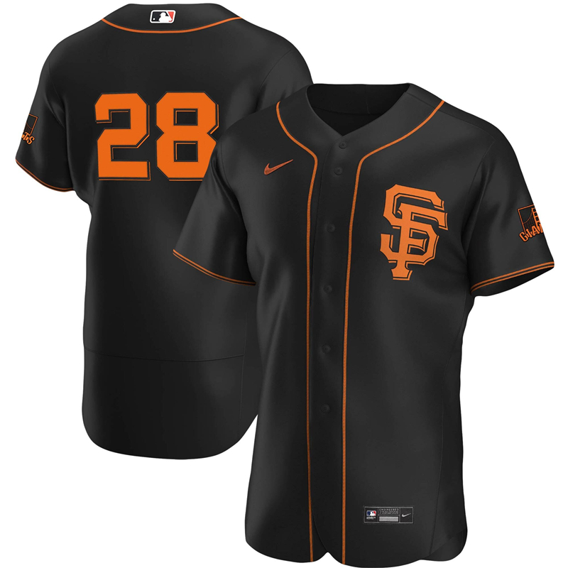 2020 MLB Men San Francisco Giants 28 Buster Posey Nike Black Alternate 2020 Authentic Player Team Jersey 1
