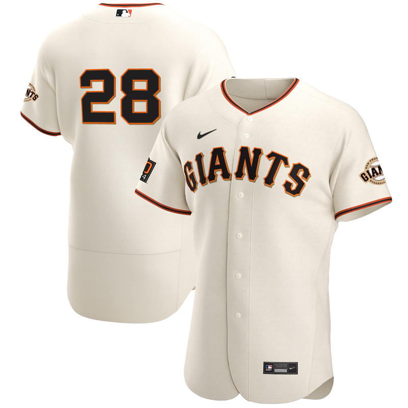 2020 MLB Men San Francisco Giants 28 Buster Posey Nike Cream Home 2020 Authentic Player Jersey 1