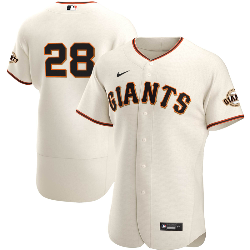 2020 MLB Men San Francisco Giants 28 Buster Posey Nike Cream Home 2020 Authentic Player Name Jersey 1