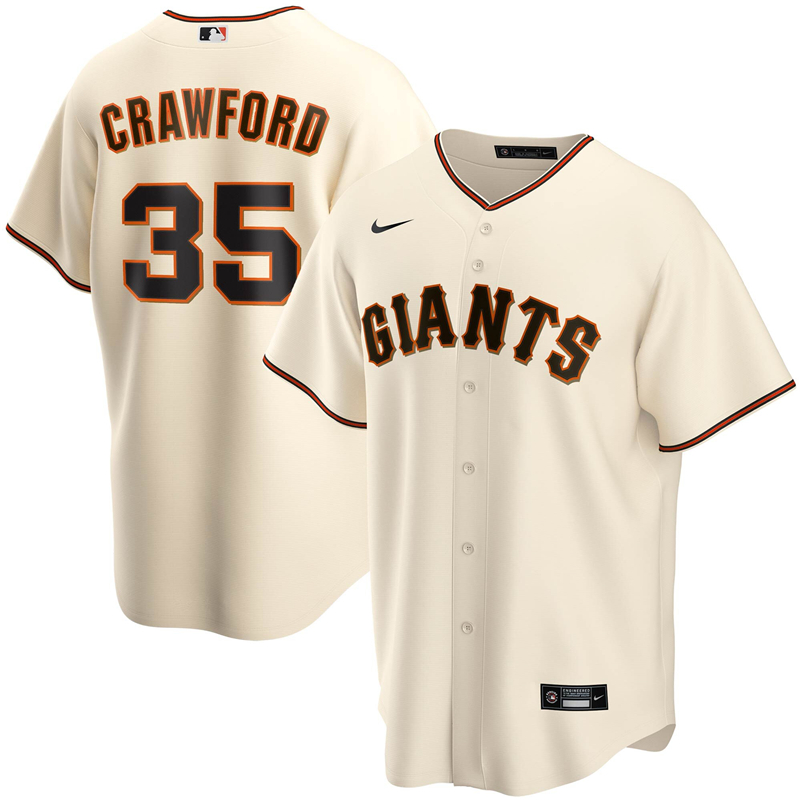 2020 MLB Men San Francisco Giants 35 Brandon Crawford Nike Cream Home 2020 Replica Player Jersey 1