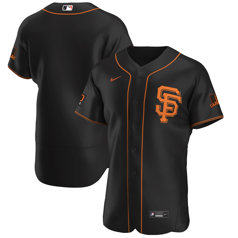 2020 MLB Men San Francisco Giants Nike Black Alternate 2020 Authentic Team Jersey 1
