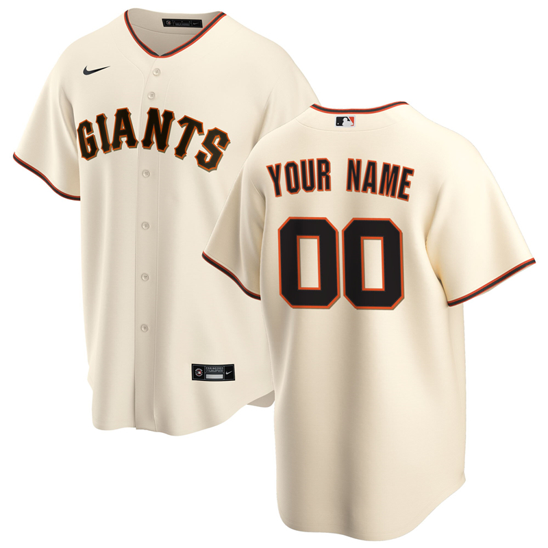2020 MLB Men San Francisco Giants Nike Cream Home 2020 Replica Custom Jersey 1