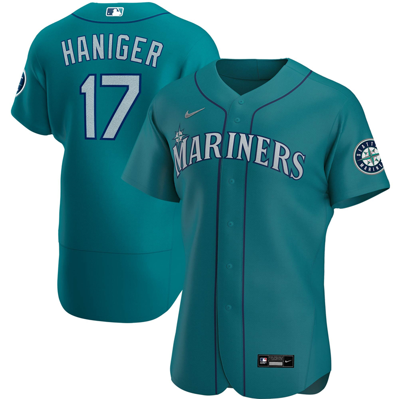 2020 MLB Men Seattle Mariners 17 Mitch Haniger Nike Aqua Alternate 2020 Authentic Player Jersey 1