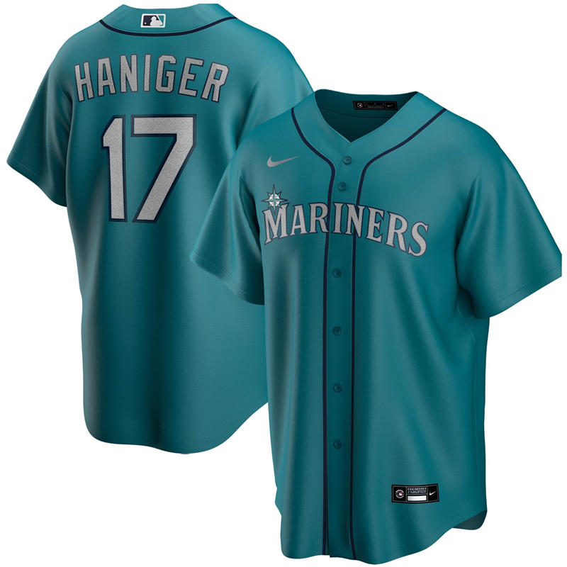 2020 MLB Men Seattle Mariners 17 Mitch Haniger Nike Aqua Alternate 2020 Replica Player Jersey 1