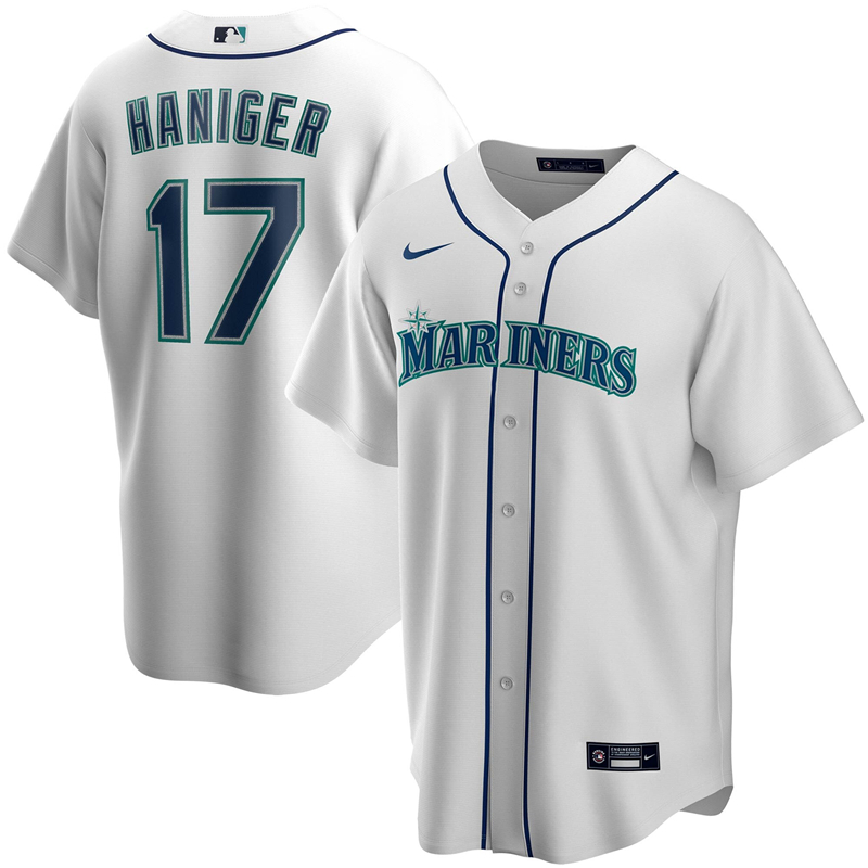 2020 MLB Men Seattle Mariners 17 Mitch Haniger Nike White Home 2020 Replica Player Jersey 1