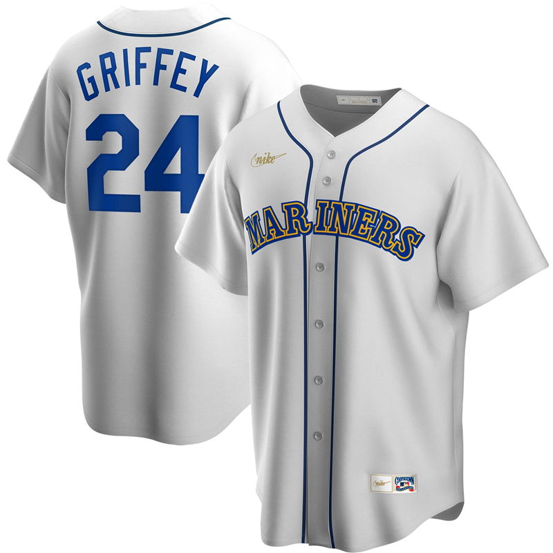 2020 MLB Men Seattle Mariners 24 Ken Griffey Jr. Nike White Home Cooperstown Collection Player Jersey 1