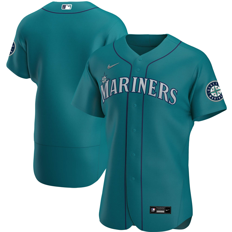 2020 MLB Men Seattle Mariners Nike Aqua Alternate 2020 Authentic Official Team Jersey 1