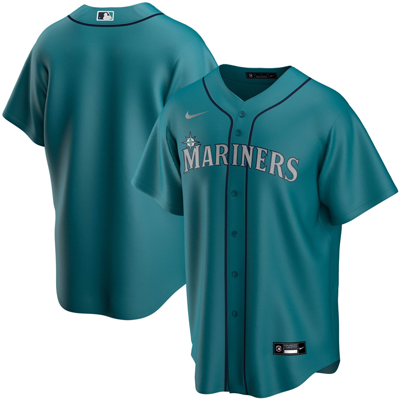 2020 MLB Men Seattle Mariners Nike Aqua Alternate 2020 Replica Team Jersey 1