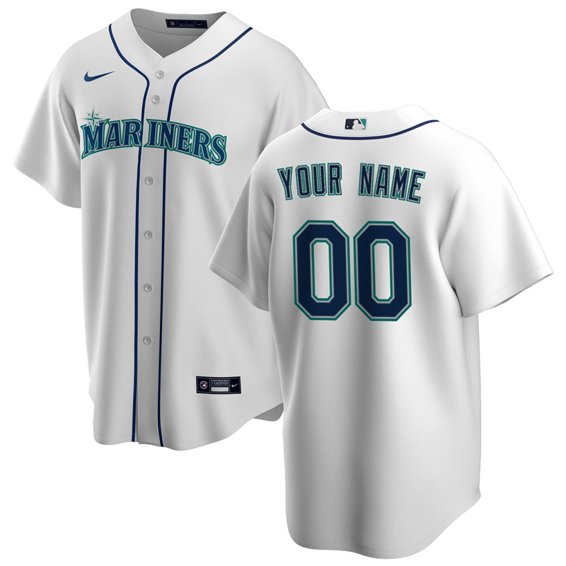 2020 MLB Men Seattle Mariners Nike White Home 2020 Replica Custom Jersey 1