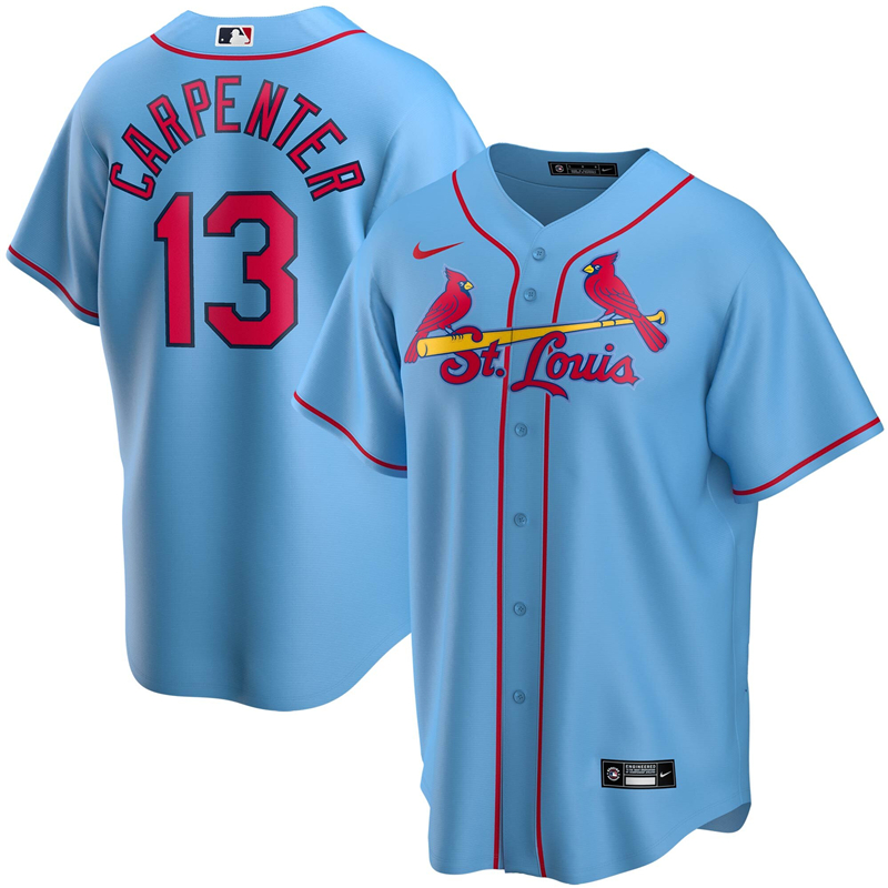 2020 MLB Men St. Louis Cardinals 13 Matt Carpenter Nike Light Blue Alternate 2020 Replica Player Jersey 1