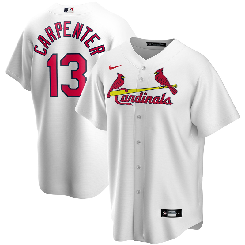 2020 MLB Men St. Louis Cardinals 13 Matt Carpenter Nike White Home 2020 Replica Player Jersey 1