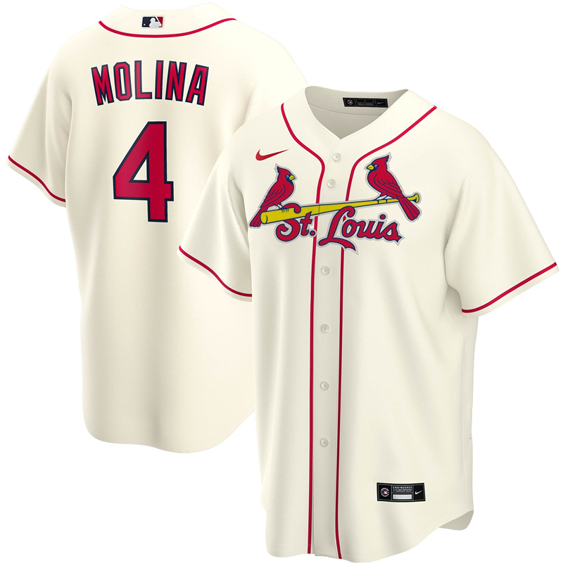 2020 MLB Men St. Louis Cardinals 4 Yadier Molina Nike Cream Alternate 2020 Replica Player Jersey 1