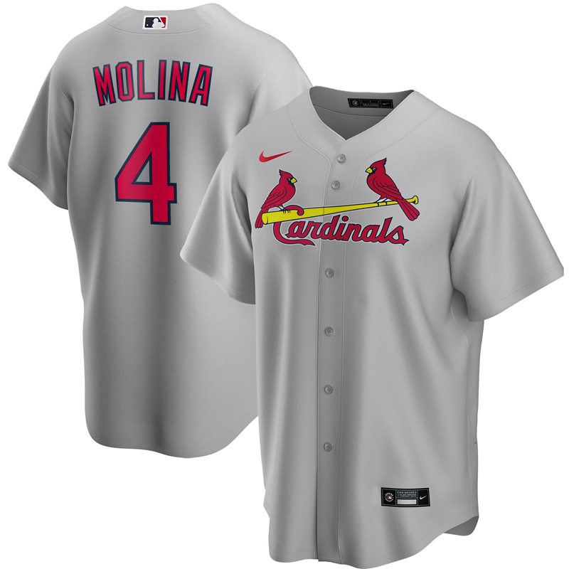 2020 MLB Men St. Louis Cardinals 4 Yadier Molina Nike Gray Road 2020 Replica Player Jersey 1