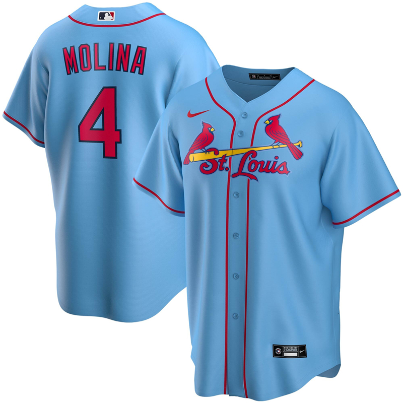 2020 MLB Men St. Louis Cardinals 4 Yadier Molina Nike Light Blue Alternate 2020 Replica Player Jersey 1