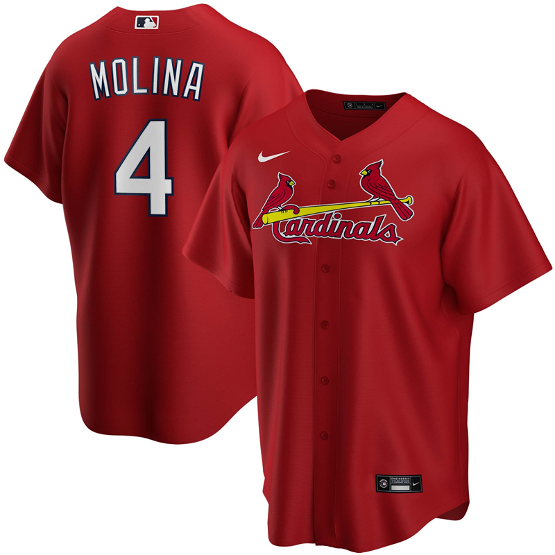 2020 MLB Men St. Louis Cardinals 4 Yadier Molina Nike Red Alternate 2020 Replica Player Jersey 1