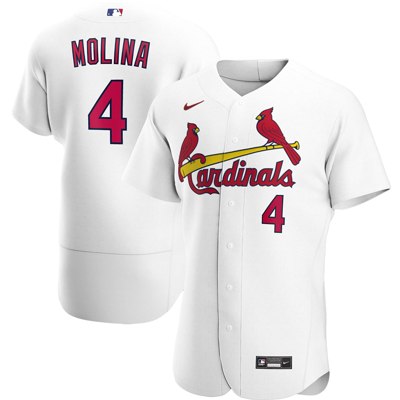 2020 MLB Men St. Louis Cardinals 4 Yadier Molina Nike White Home 2020 Authentic Player Jersey 1