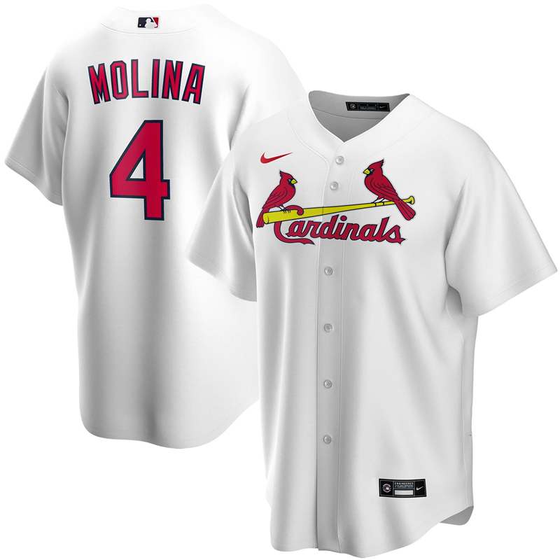 2020 MLB Men St. Louis Cardinals 4 Yadier Molina Nike White Home 2020 Replica Player Jersey 1
