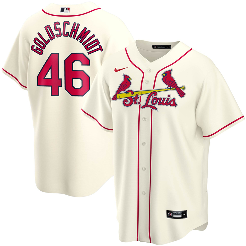 2020 MLB Men St. Louis Cardinals 46 Paul Goldschmidt Nike Cream Alternate 2020 Replica Player Jersey 1