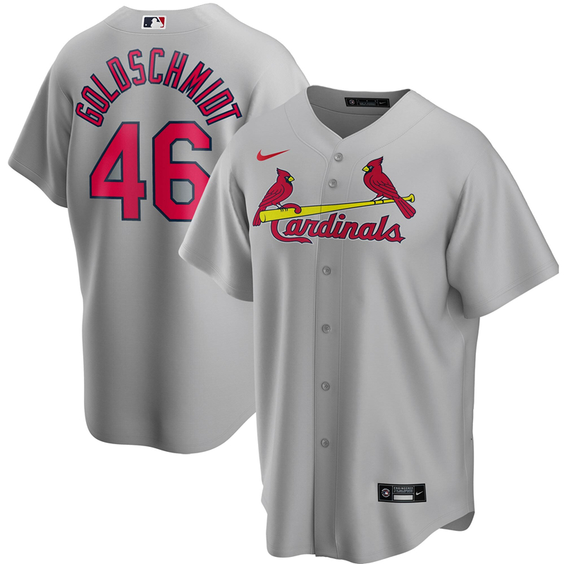 2020 MLB Men St. Louis Cardinals 46 Paul Goldschmidt Nike Gray Road 2020 Replica Player Jersey 1