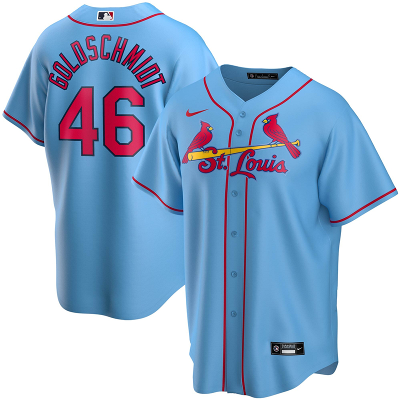 2020 MLB Men St. Louis Cardinals 46 Paul Goldschmidt Nike Light Blue Alternate 2020 Replica Player Jersey 1